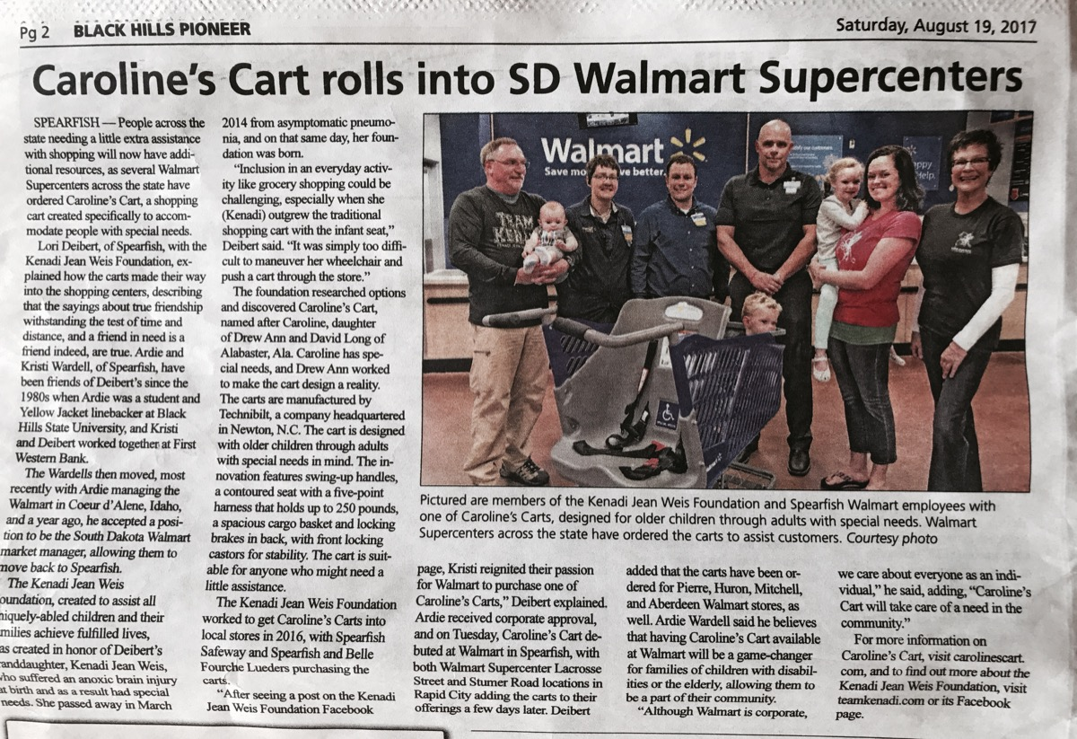 carolines cart rolls into sd walmart supercenters an article by black hills pioneer click the image to read